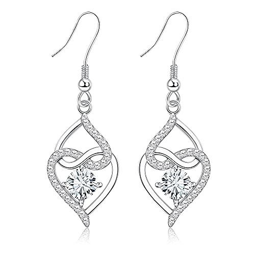 Sllaiss Celtic Eternity Knot Dangle Earrings for Women Open Heart Drop Earrings S925 Hooks 4MM Cubic Zirconia Dainty Infinity Earrings Good Luck Irish Love Knot Drop Dangle Earrings