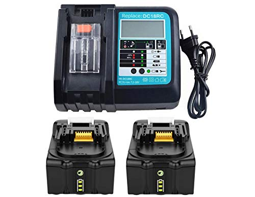2x BL1850 Battery 18V 5,0Ah with Charger 3A for Makita BL1830 BL1840 BL1850B, Makita DUC353Z DUC302Z DLM380Z DLM431Z DUH523Z, Makita Radio DMR100 DMR101 DMR102 DMR103B DMR104 DMR105 DMR108
