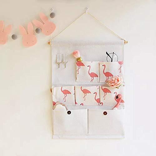 XKMY Estantería de pared con diseño de flamencos, para colgar en el hogar, organizador de guardarropa, calcetines, sujetadores, ropa interior, revistas, organizador de juguetes (color rosa flamenco)