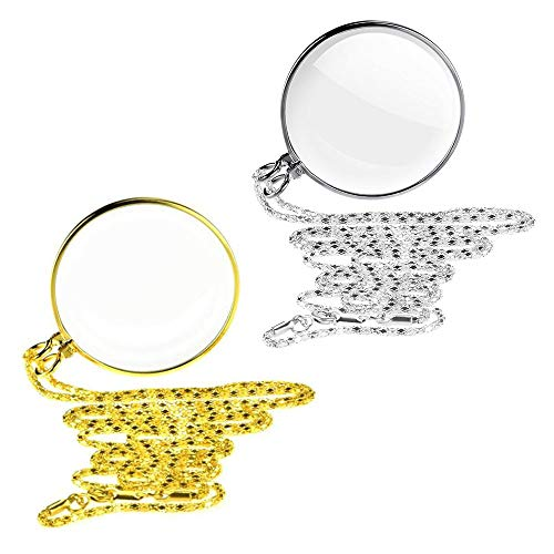 2 Piezas Loupe Cadena Joyas Lupa con 5x Collar de Lupa de Cristal Óptico Colgante, Lupa Para Colgar, Lente de Monóculo Portátil con Lupa Monóculo Collar Lupa con Lupa (Oro/Plata) (Oro/Plata)