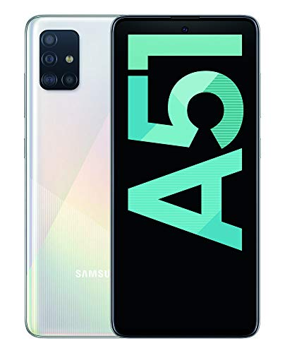 "Samsung Galaxy A51 - Dual SIM, Smartphone de 6.5"" Super AMOLED (4 GB RAM, 128 GB ROM, cámara Trasera 48.0 MP + 12.0 MP + 5.0 MP + 5 MP, cámara Frontal 32 MP) Blanco [Versión española]"