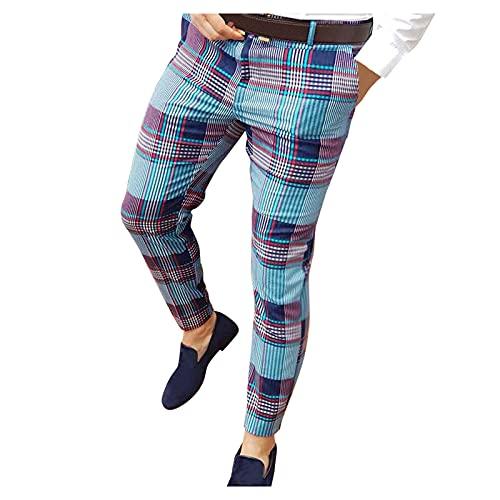 WOOGOD Pantalones largos para hombre, ajustados, informales, finos, transpirables, largos, a cuadros, elásticos, para tiempo libre, Azul-01., L