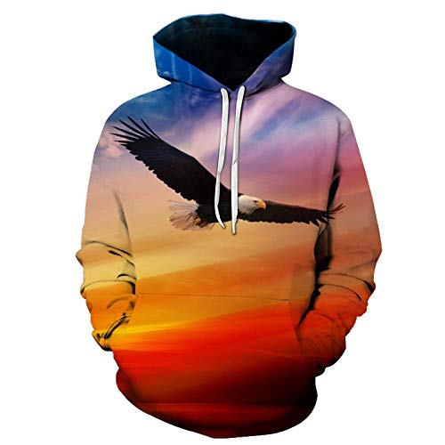 Flying Eagle Hooded Sweater 3D Digital Printing Sweater Casual Sports Jacket-Color_M