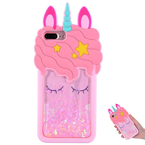 TopSZ Quicksand Unicorn Bling Case for iPhone 8 Plus/7 Plus/6 Plus 5.5',Cute Silicone 3D Cartoon Cool Kawaii Animal Cover,Shockproof Soft Skin,Character Cases for Kids Girls Teens Guys iPhone 678Plus
