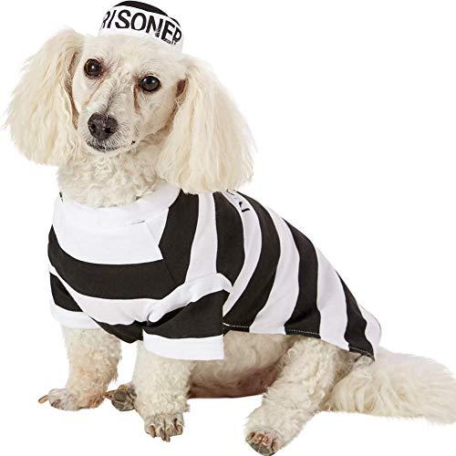 Gefangener Hundekostüm – Hund Halloween Kostüm Hund Cosplay Kostüm mit Hut für Welpen, kleine, mittelgroße und große Hunde, besondere Anlässe, lustige Foto-Requisiten, Zubehör, X-Large, Mehrfarbig