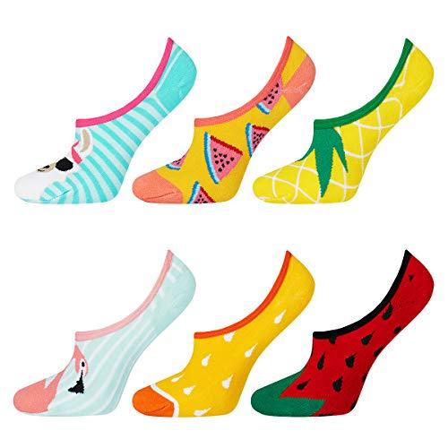 soxo Damen Unsichtbare Bunte Sneaker Socken   Größe 35-40   6er Pack   Baumwolle Kurze Füßlinge mit lustigen Motiven   niedriger Schnitt   Ideal für flache Schuhe   tolle Ergänzung für Ihre Garderobe