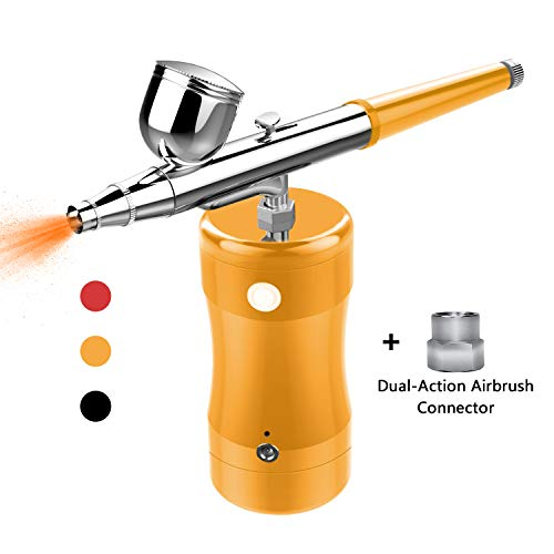 COSSCCI Handheld Airbrush Kit, Portable Mini Air Brush Spray Gun with Compressor Kit Single Action Air Brush Painting Kits for Cake Decorating Makeup Art Nail Model Painting Tattoo Manicure (Gold)