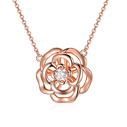 AOBOCO Sterling Silver Rose Flower Necklace Embellished with Crystals from Swarovski, Rose Gold Plated, Romantic Anniversary Birthday Rose Flower Jewelry Gifts for Women Daughter Wife Girlfriend Mom