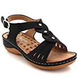 AARZ LONDON Women Ladies Comfortable Acupressure Casual Summer Light-Weight Pressure Points Flat Black Sandals Shoes Size UK 6
