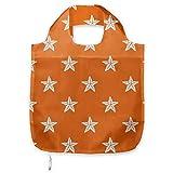 ABAKUHAUS Estrella de mar Bolsa Reutilizable Plegable para Compras, Patrón acuario de fauna, de Tela con Estampa Digital Colores Durables Lavable, naranja Blanco