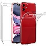 ivoler Funda para iPhone 11 6.1 Pulgadas, con 3 Unidades Cristal Templado, Transparente Suave TPU Silicona Carcasa Protectora Anti-Choque Caso Delgada Anti-arañazos Case