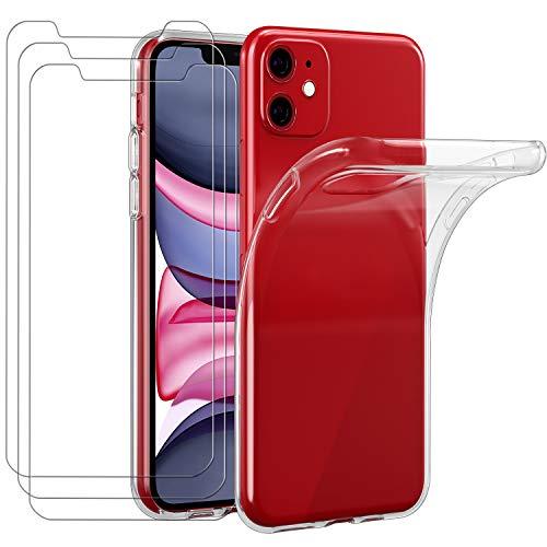 ivoler Funda para iPhone 11 6.1 Pulgadas, con 3 Unidades Cristal Templado, Transparente...