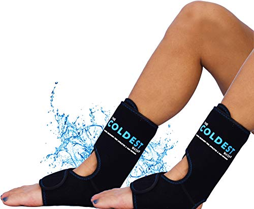 The Coldest Foot Ankle Achilles Pain Relief Ice Wrap with 2 Cold Gel Packs | Best for Achilles Tendon Injuries, Plantar Fasciitis, Bursitis & Sore Feet Built for Cold Therapy (Black XS-XL) (2-Pack)
