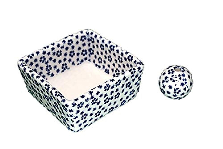 セージ地雷原賭け和モダン 桜小紋(青) お香立て 陶器 角鉢 製造直売品