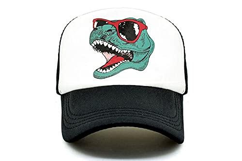 gorra Gorra de camionero de dinosaurio para hombre, gorra de camionero divertida y genial, gorra de malla negra fresca jurásica para chico, familia adulta