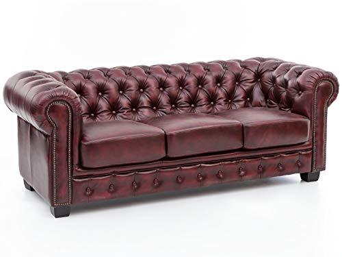 Woodkings® Chesterfield Sofa 3-Sitzer Vintage Echtleder Couch Bürosofa Polstermöbel 3 Sitzer antik Designsofa Federkern Unikat Herrenzimmer englisches Leder Stilsofa Clubsofa (antik rot)