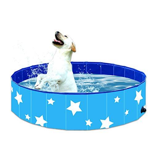 Piscina Plegable para Mascotas Suministros Bañera de Baño para Perros Gatos y Niños Estanque de Agua para Exteriores de Plástico Duro de PVC Azul,120 * 30cm