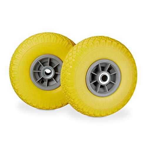 Relaxdays, gelb-grau 2X Sackkarrenrad, pannensichere Vollgummireifen, 3.00-4 Zoll, 20mm Achse, bis 80 kg, 260 x 85 mm