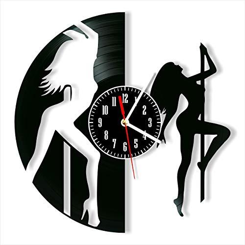 CHENWN Reloj de Pared con Disco de Vinilo de Baile en Barra, Hecho a Mano para decoración del hogar para Hombres, Mujeres, Amigos, niños