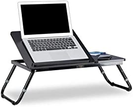 Relaxdays Mesa Ordenador portátil Negra, DM, Metal, 40 x 75 x 35 cm
