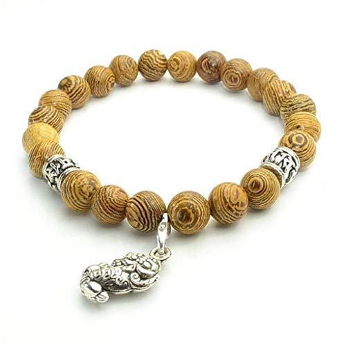 Pulsera Feng Shui Bead Buena suerte pulsera, Feng Shui tibetano budista Mala Madera Pixiu la pulsera unisex Hombres Mujeres pulsera de la riqueza y la buena suerte pulsera Pulsera de abalorios de amul