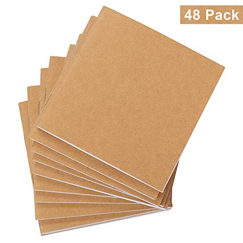 Belle Vous Cuadernos de Notas Kraft (Pack de 48) - (10,5x10,7cm) Block de Notas sin Líneas - 120GSM 24 Hojas Cubierta Kraft Marrón Bloc de Dibujo Ecológico Uso Escolar, Proyecto Escritura, Viaje