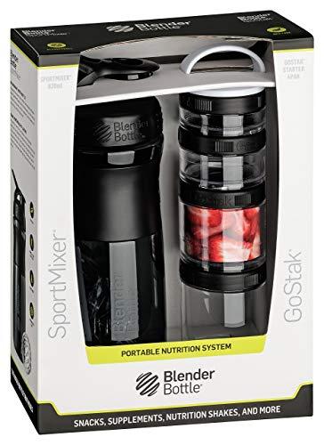 BlenderBottle Combo Pak - Sportmixer Shaker 820 ml Fassungsvermögen und GoStak Starter 4Pak mit Henkel in einer attraktiver Geschenkverpackung, schwarz