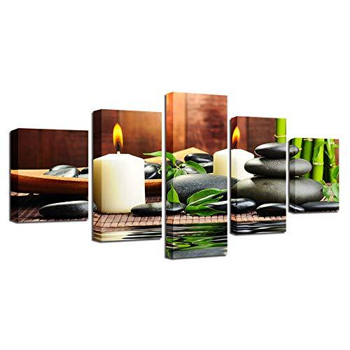 YUANSAHN canvasdruk canvas schilderij Hd Prints Home Decoration 5 stuks bamboe muurkunst kaars afbeeldingen steenkunst woonkamer poster