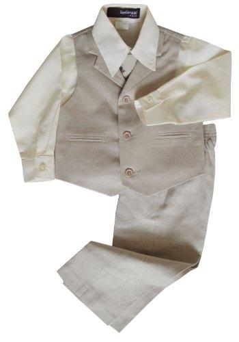 G270 Boys Summer Linen Blend Suit Vest Dresswear Set (3T, Natural)