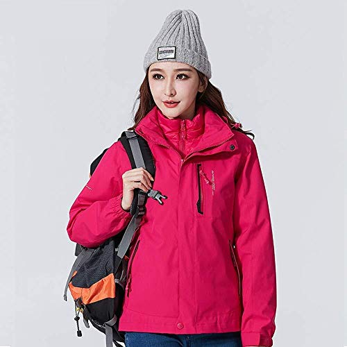 Hcxbb-10 Dames Softshell Outdoor Jack, Ski-Jas Waterbestendig Herfst En Winter Warm 3 In 1 Set Tweedelig Coat-Ademend, Down Liner Hood,Geripte Waterdichte Mountain Jacket