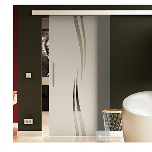 Glasschiebetür 77,5x205 cm in ESG-Milchglas mit Wellen-Dessin (A) EasySlide-System komplett. Laufschiene und Stangengriffe, Schiebetür aus Glas für Innenbereich, in sehr hochwertiger Qualität.