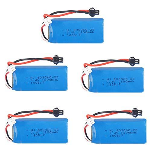 RFGTYH 7.4V 1200mAh 2S Batteria Lipo SM Spina per H26 H26C H26W H26D H26HW Telecomando Elicottero Quadcopter Drone Pezzi di Ricambio 5PCS