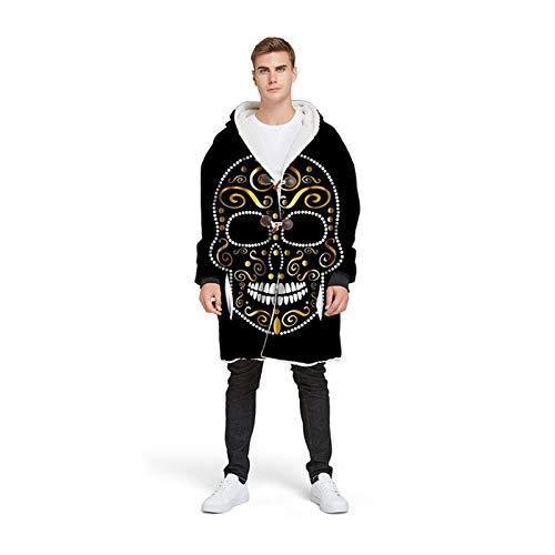 Manta con capucha de cráneo de azúcar 3D personalizada con manga de invierno espesando bocina chaqueta de botón para hombres Manta portátil Halloween (Color : Type 20, Size : XX-Large)