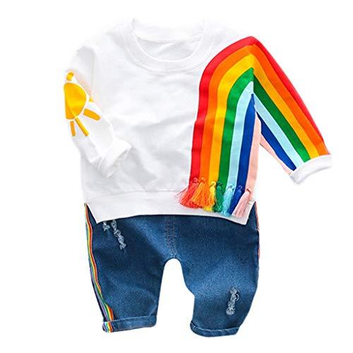 Mitlfuny Niñas Niño Conjunto de Ropa Bebé Camisetas de Manga Larga Sol Arcoiris Impresión Sudaderas Camisas Jeans para Niña Niños Primavera Verano Tops + Pantalones de Mezclilla 2 Piezas 1-3 Años