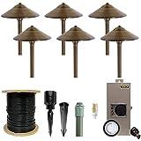 VOLT Cast Brass LED Path Light 6-Pack Kit (Bronze) with 150W Low Voltage Transformer