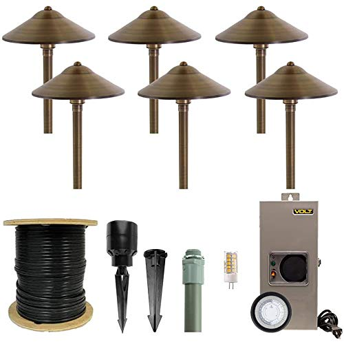 VOLT Brass Path Light 6-Pack Kit with Transformer