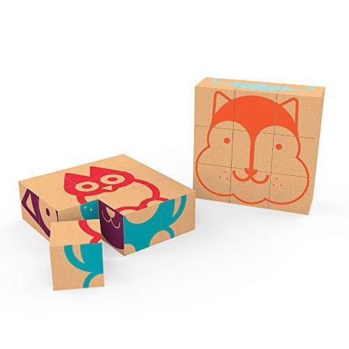 ELOU Cubic Puzzle Juguetes Sostenibles - 9 Cubos de Corcho - 6 Caras de Animales - Destreza Entrenamiento Pensamiento - Aprendizaje Temprano – Made in Portugal