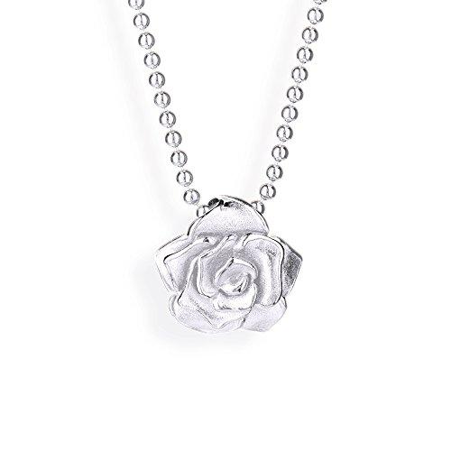 Drachenfels Kleiner Rosen Anhänger in Echtsilber | Kollektion Rose of Antoine | Anhänger für Ketten aus 925 Sterlingsilber | D ROF 31/AG