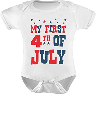 Tstars My First 4th of July Baby Boy Girl Outfit American Flag USA Baby Bodysuit NB White
