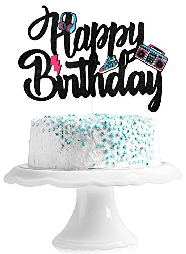 Happy Birthday 90's Throwback Cake Topper - Totally 1990s Party Cake Supplies - 90's Decade Throwback Party Favors Decorations