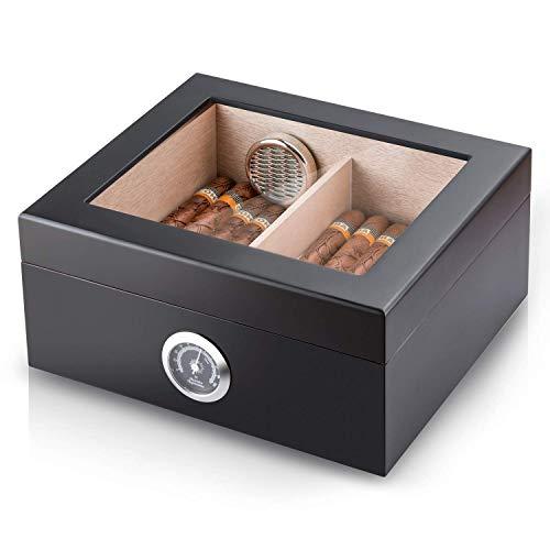 Cigar Humidor Gaoduan Handmade Wood Cigar Boxes Desktop Cigar Storage with Hygrometer and Humidifier,Cedar Divider Royale Glasstop Holds 25-50 Cigars