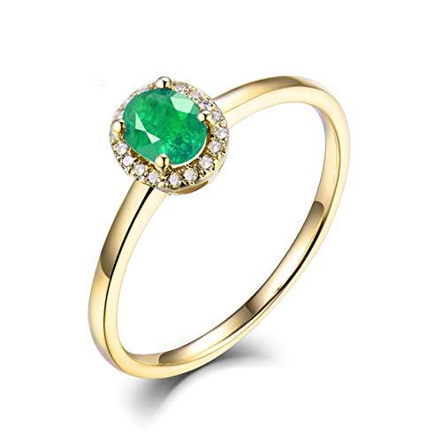 Beydodo Anillos de Compromiso Mujer,Anillo de Oro Amarillo 14K Mujer Oro Verde Oval Esmeralda Verde 0.3ct Diamante 0.05ct Talla 12(Circuferencia 52MM)
