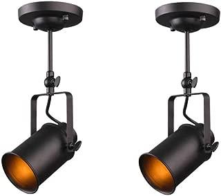 2 Pcs/Lot Vintage Industrial Ceiling Spotlight, Jeffrien Retro Minimalist Adjustable 1 Lamp Black Metal Track Lighting Fixture for Office Loft Hall Bedroom Restaurant Hotel Coffee Shop