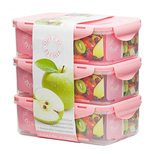 By Caleb Company Pink Bento Boxes For Kids Lunches - 39 Ounce Divided Food Storage Containers With Lids - Leakproof, BPA Free Bento Box for Kids & Adults Is Safe For Dishwasher & Microwave - 3 Pack