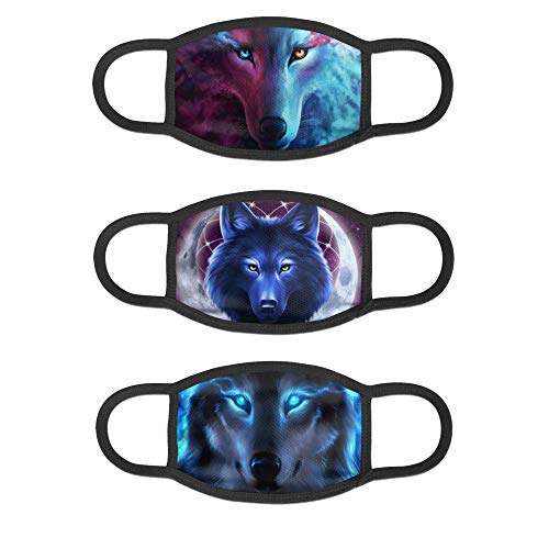 3Pcs Galaxy Wolf Reusable Face Mask Anti Dust Facial Protection Decorations for Women and Men