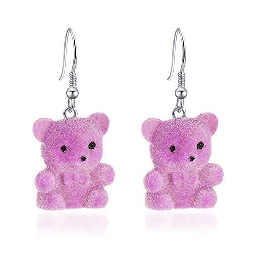 haiqingqin Pendientes de oreja de felpa con diseño de oso lindo para mujer, Zinc,