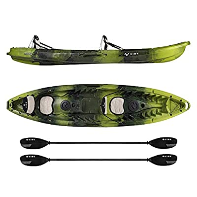 Vibe Kayaks Skipjack 120T | 12 Foot | Tandem Angler and Recreational Two Person Sit On Top Fishing Kayak with 2 Paddles and 2 Seats + Flush Rod Holders + Built in Storage Included