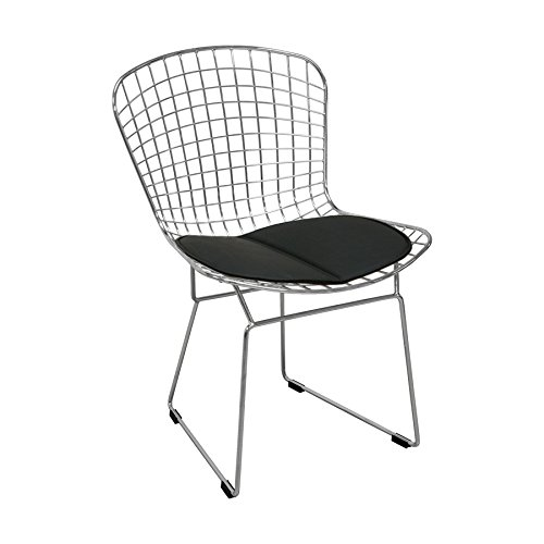 Mod Made Mid Century Modern Chrome Wire Dining Side Chair for Dining Room Kitchen or Outdoor, Black