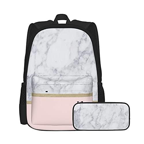 Set zaino casual e astuccio per computer portatile e astuccio combinato, zaino da lavoro e studio e borsa cosmetica combinazione oro fard rosa