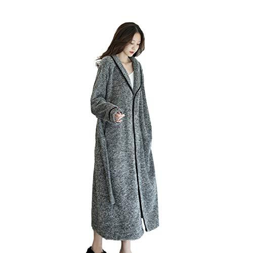 Damen Plush Fleece-Kleid, volle Länge, warm, mit Gürtel, Hausmantel XXX-Large
